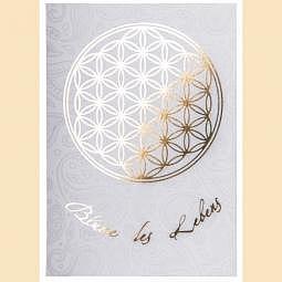 Postkarte Blume des Lebens Postkarte gold auf weiss