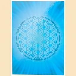 Postkarte Blume des Lebens Kleber blau