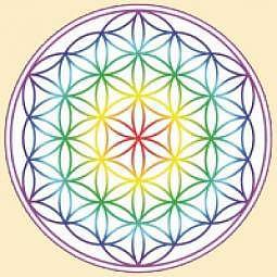 Aufkleber Blume des Lebens Regenbogen-Chakra 3er-Set