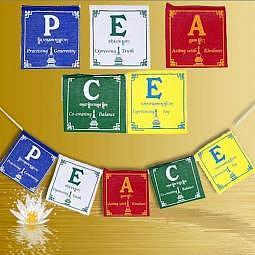 Tibetische Gebetsfahne 0.93 Meter - Peace (Frieden)