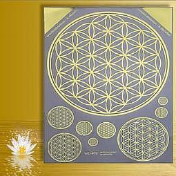 Aufkleber Die Blume des Lebens A3 gold - wiederablösbar