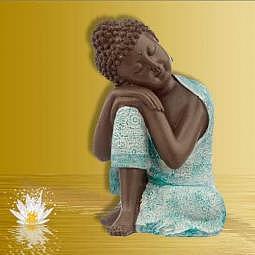 Buddha/Thai-Buddha ruhend braun/türkis 23 cm