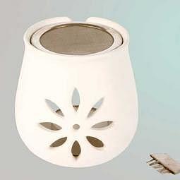 Räucherstövchen Blume aus Ton mit Sieb - Räuchergefäss