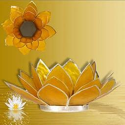 Teelichthalter Lotus gelb - Silberrand