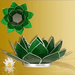 Teelichthalter Lotus grün - Silberrand