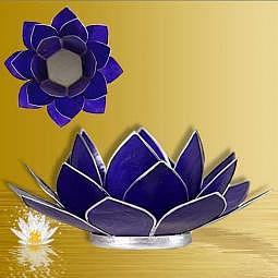 Teelichthalter Lotus indigo - Silberrand