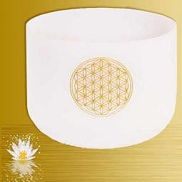 Klangschale Kristall F-Ton Blume des Lebens 432 Hz, inkl. Klöppel u. Tasche