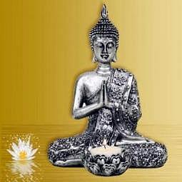 Buddha mit Kerzenhalter silber