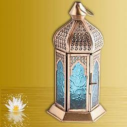 Laterne - Magischer Moment- Echtglas türkis