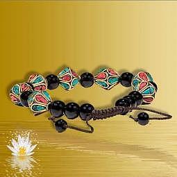 Armband Türkis, Koralle & schwarzer Achat