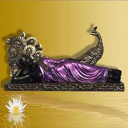Buddha/Thai-Buddha mit Pfau schwarz/lila 32 cm