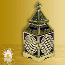 Laterne orientalisch mit der Blume des Lebens gold