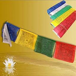 Tibetische Gebetsfahne 1.2 Meter (10x10 cm) - Baumwolle