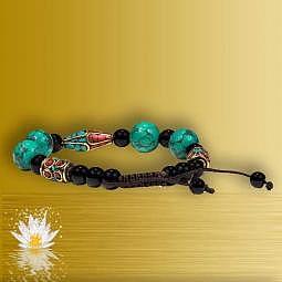 Armband Türkis, Koralle & schwarzer Achat 2