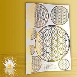 Aufkleber Die Blume des Lebens A4 gold