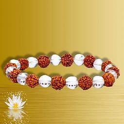 Armband Rudraksha & Bergkristall