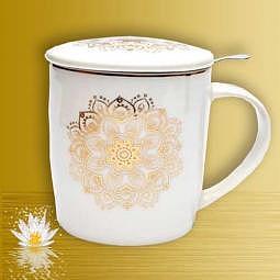 Teetasse mit Sieb & Deckel - Mandala