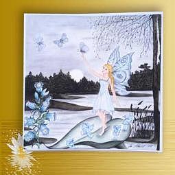 """Kunst-/Geschenkkarte """"Elfe mit Schmetterling"""""""