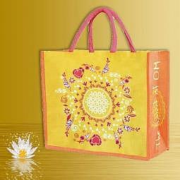 Tasche Die Blume des Lebens gelb, orange, pink